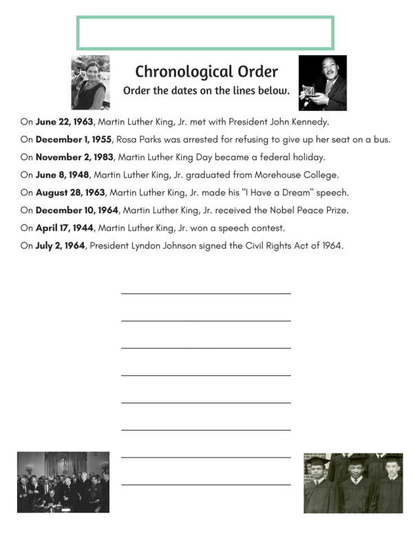 Martin Luther King, Jr. Worksheet